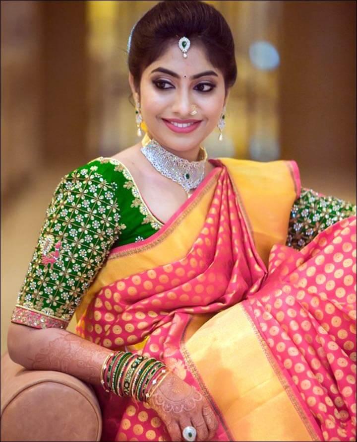 Bridal silk saree blouse design
